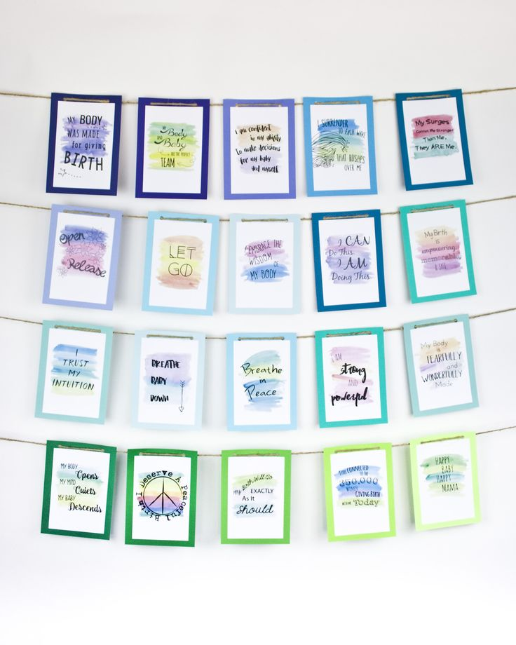Watercolor Birth Affirmation Banner in Earth Blues & Greens