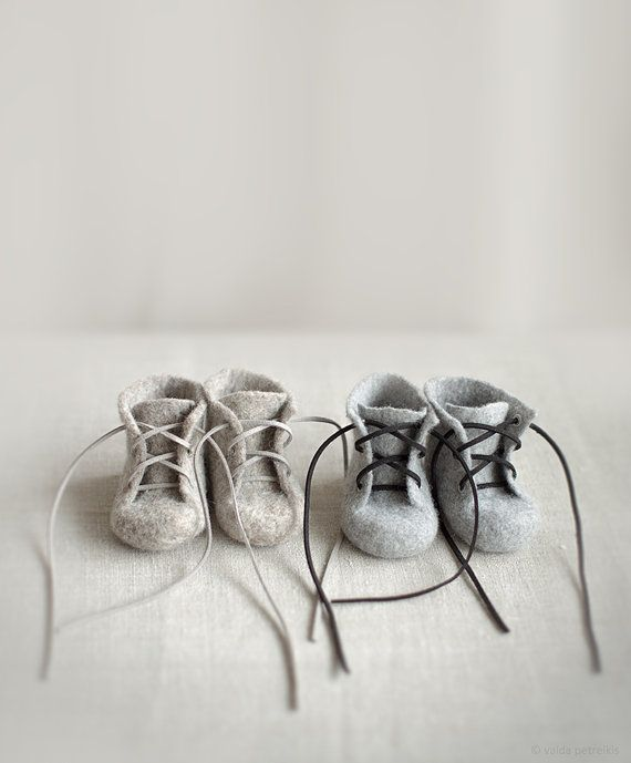 Newborn booties for twins Two pairs of natural organic wool boots Felted unisex eco friendly greyish brown and grey shoes Pregnancy reveal