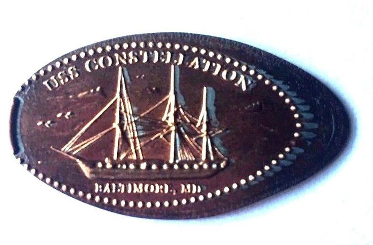 Elongated Penny Coin USS CONSTELLATION - Harborplace Pavilion,  BALTIMORE  - MD