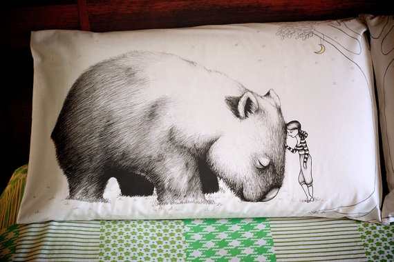 Wombat Pillowcase facing right Printed animal by flossyparticles, $30.00