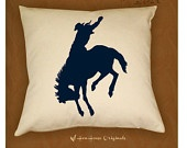 Cowboy Pillow Cover Western Bronco Horse 18 x 18. $26.00, via Etsy.