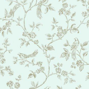 Fine Decor Birds from Live Laugh Love Collection Duck Egg / Gold - Fine Decor from I love wallpaper UK