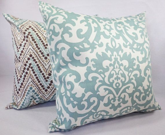 Couch Pillow Cover Blue and Brown Decorative by CastawayCoveDecor
