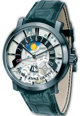 Stunning Pierre Kunz Blaktop transparent dial watch.