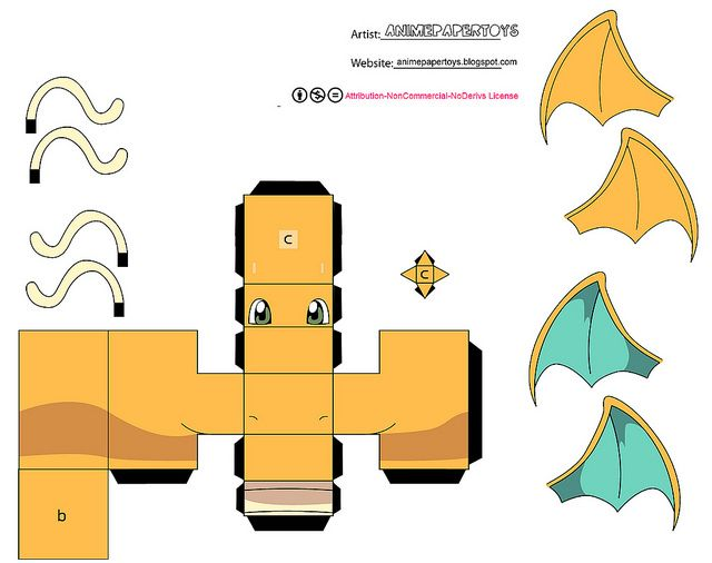 DRAGONITE (POKEMON) by animepapertoys, via Flickr