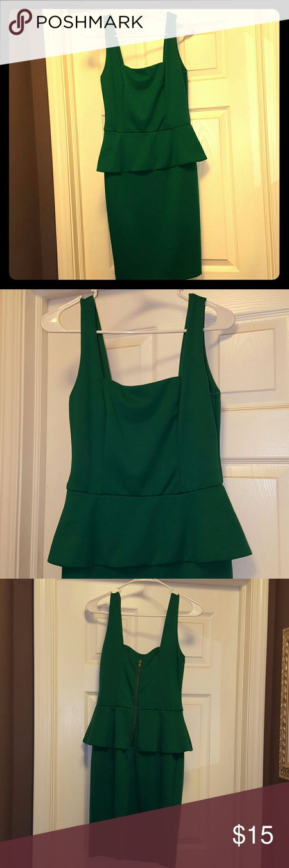 Dress Kelly green cotton knee length dress. Appears as top and skirt. Perfect for work, dress it up or dress it down. Zippered back. Good condition. Make an offer :) ECI Dresses Asymmetrical