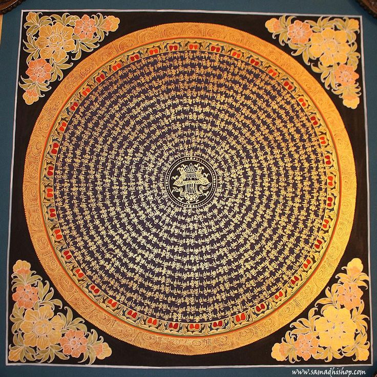 OM Mani Padme Hum mantra mandala thangka festmény 55x55 cm #009