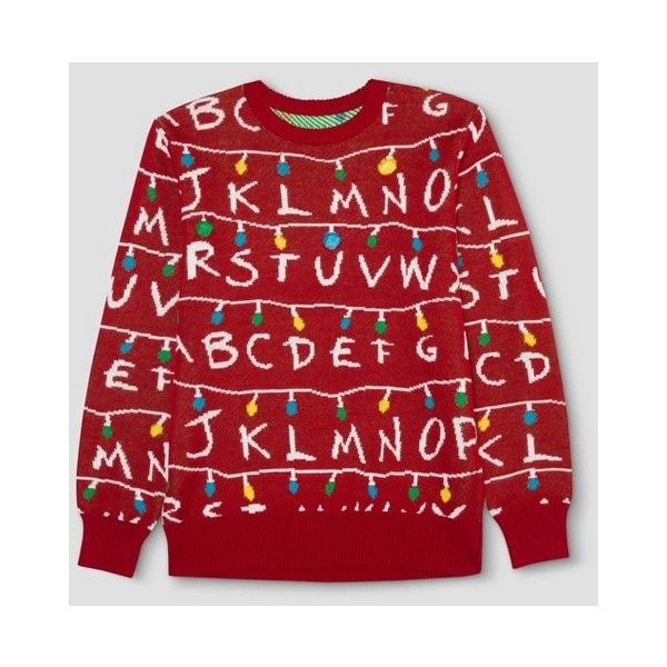 Men's Stranger Things Ugly Holiday Light-Up Sweater - Red : Target (9.335 HUF) ❤ liked on Polyvore featuring men's fashion, men's clothing, men's sweaters, mens red sweater, mens holiday sweaters and mens sweaters