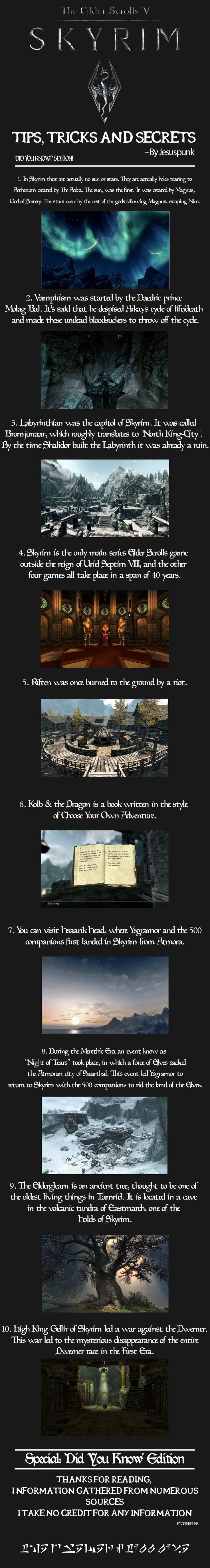 Skyrim  Tips, Tricks And Secrets! Huge Fan Of This Game