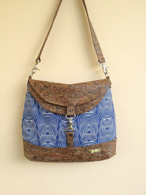 Blue Large Hobo Cork Fabric Hobo Large by NormasBagBoutique