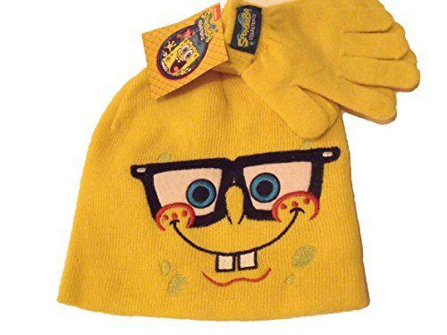 Spongebob Squarepants Hat Gloves Yellow Winter Knit Boys Toddler Kids @ niftywarehouse.com
