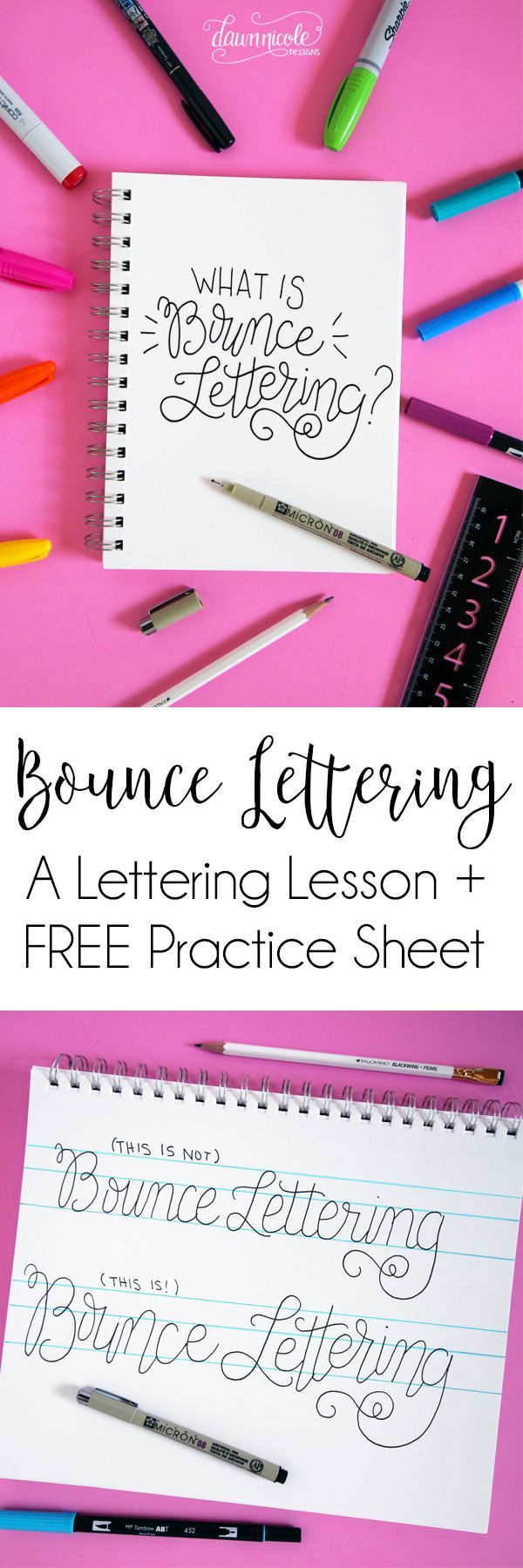 How to Do Bounce Lettering. What is Bounce Lettering? Find out in this lettering tutorial and grab the FREE Bounce Lettering Worksheet to practice!   http://dawnnicoledesigns.com