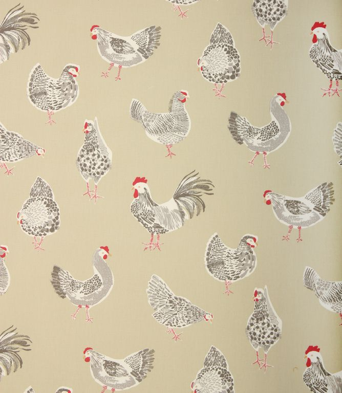 Rooster Clarke is a great chicken fabric for a country style kitchen. Available in a range of pastel colours and suitable for curtains, blinds and cushions. Made from 100% cotton. Matching pvc available. Why not use our made to measure service and have your curtains and blinds professionally made in our workroom. Buy online or from one of our curtain fabric shops in Burford and Cheltenham.