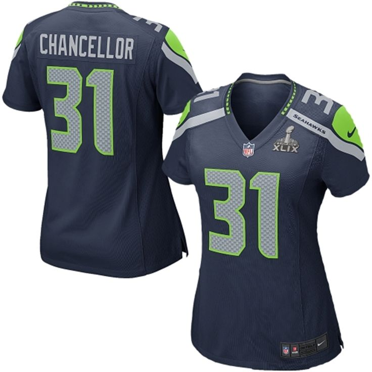 Seattle Seahawks Women's Kam Chancellor Nike Super Bowl XLIX Bound Game  Jersey - College Navy