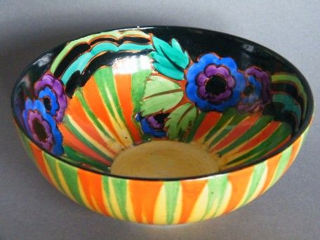 1930s Hand Painted Art Deco Bowl by Thomas Forester & Sons