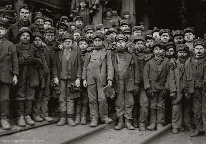 Child coal miners group together in a group photo. It kind of breaks my heart the shape that some of these boys are in... :( By Lewis Hine.