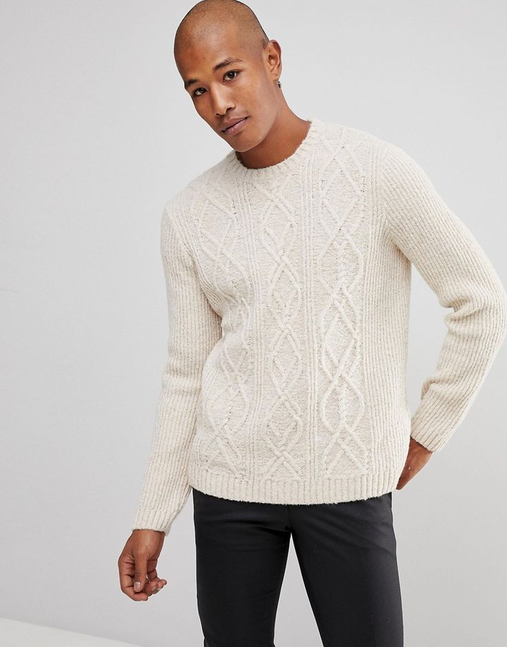 ASOS Cable Knit Sweater In Oatmeal - Beige