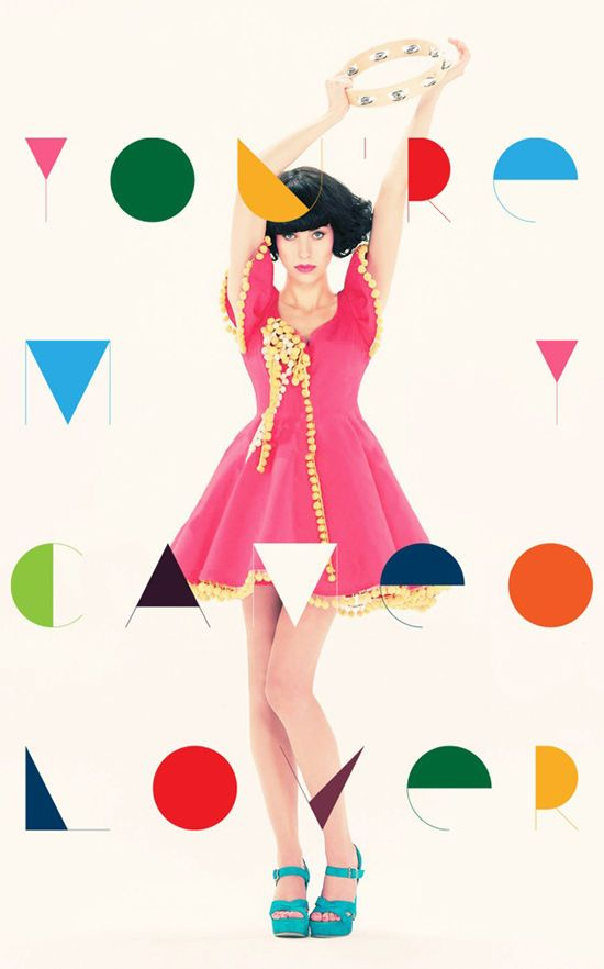 this photograph and design is really cute because of the font choice and cute colors! I like how the font matches the bright colors of her dress and sccessories
