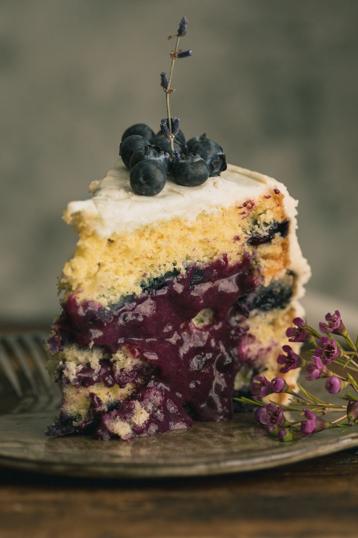 Lavender Blueberry Cake with Cream Cheese Frosting