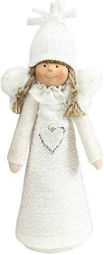 Felices Pascuas Collection 12 inch White Snowy Woodlands Girl Angel Christmas Tabletop Figure
