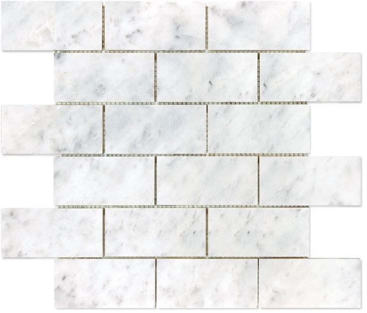 Bianco Polished Brick Mosaics - 2 Inch x 4 Inch
