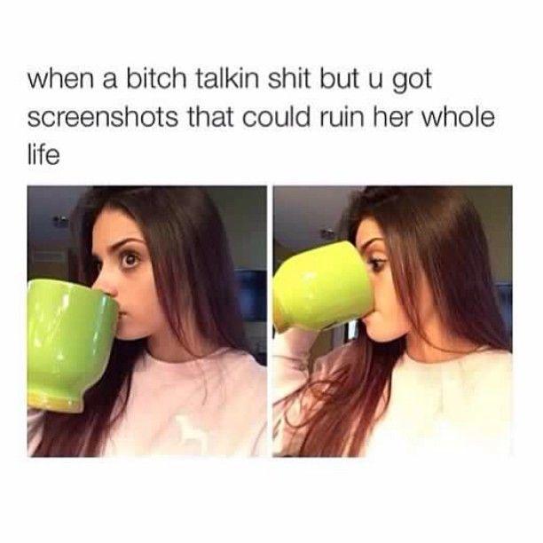 Giant mug: sipping tea/throwing shade when a bitch is talking shit meme