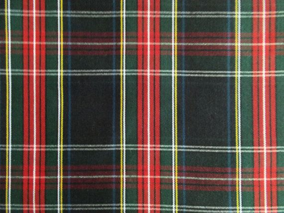 60 Inch Wide Black Stewart Tartan Plaid Fabric by libbysfabric