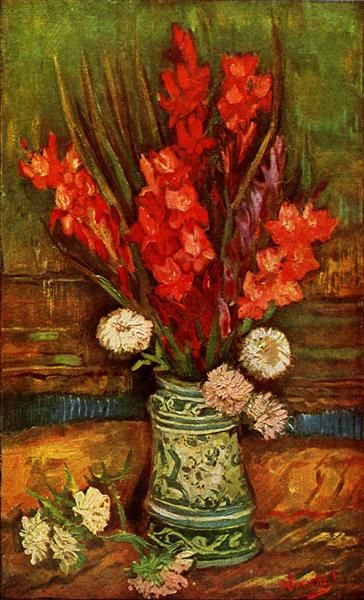 Still LIfe - Vase with Red Gladiolas, 1886 by Vincent van Gogh. Post-Impressionism. flower painting