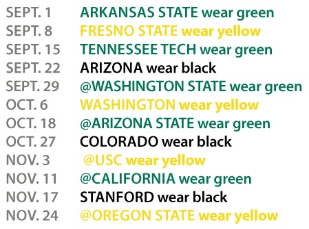 Game Schedule    Game Colors | Football | The Duck Store
