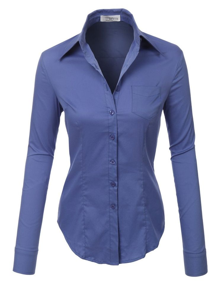 Womens lightweight button down v neck shirt with stretch for Womens stretch button down shirt