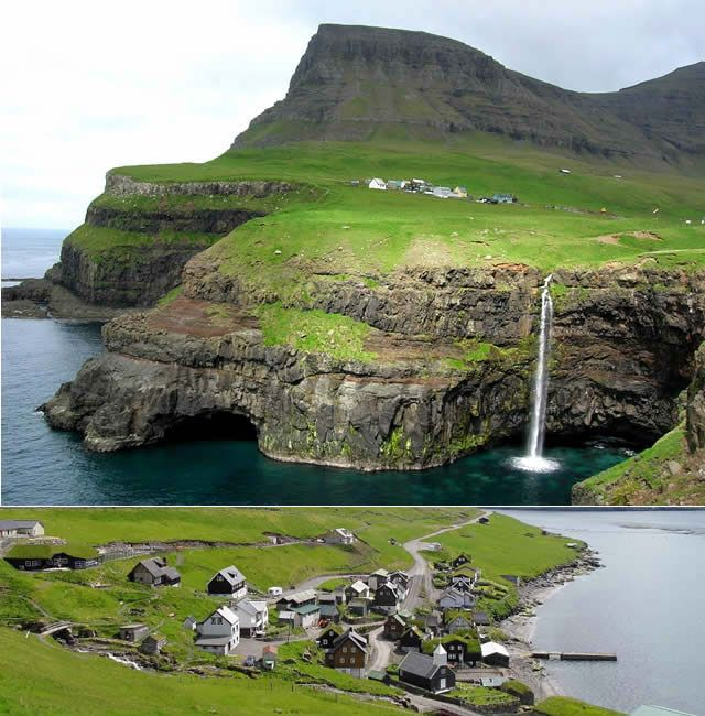 Gásadalur - a village on the Vágar island, Faroe Islands. Click to Watch http://destinations-for-travelers.blogspot.com.br/2014/07/gasadalur-vagar-faroe-islands.html