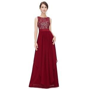 Nádherné červené večerní šaty ze saténu a krajky