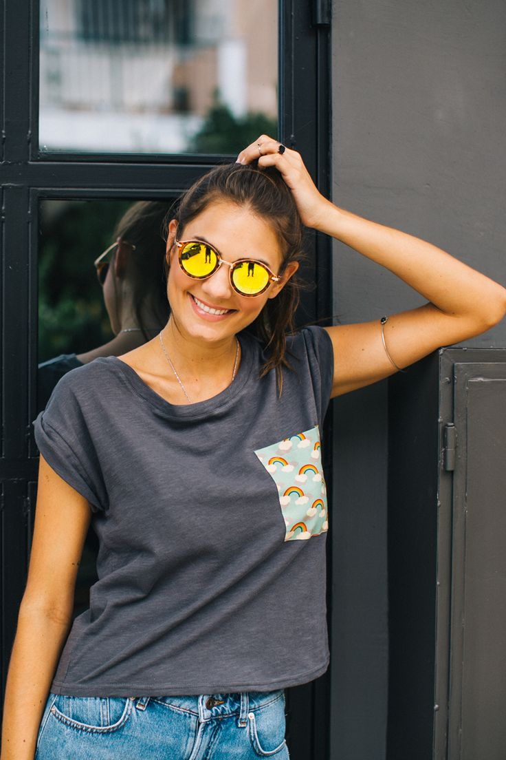 Gray loose fitting cotton t-shirt. It has a pocket with a cute cloud and rainbow print and the sleeves cuffs are turned inside out. This is the perfect t-shirt to get you in a good mood! http://shoko-shop.com/collections/new-in/products/t-shirt-picnic-white-1