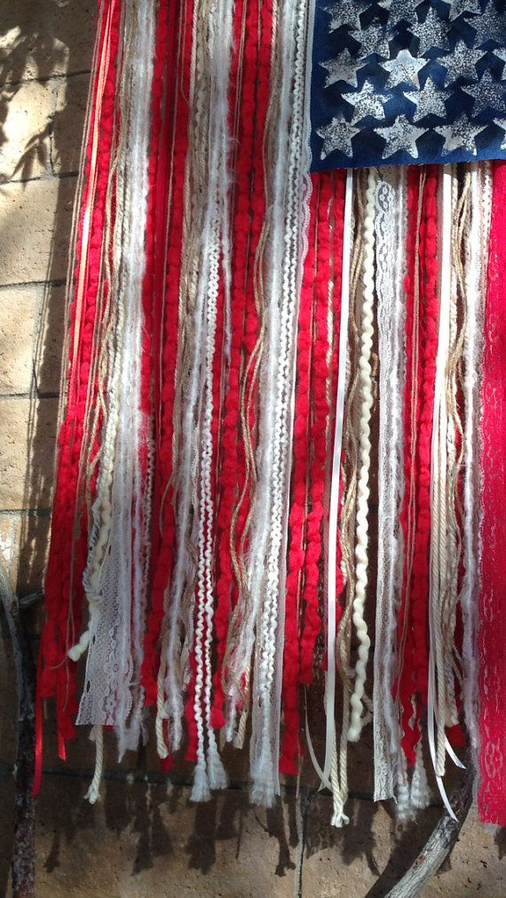 LARGE RUSTIC American Flag with yarn ribbon lace by theeasterdays