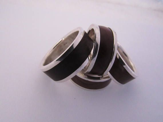 Sterling silver and natural wood ring