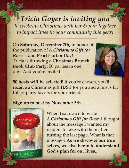 On Saturday, December 7th, in honor of the publication of A Christmas Gift for Rose—and Pearl Harbor Day!—I'm throwing a Christmas Brunch Book Club Party: 50 parties in one day! And you're invited!