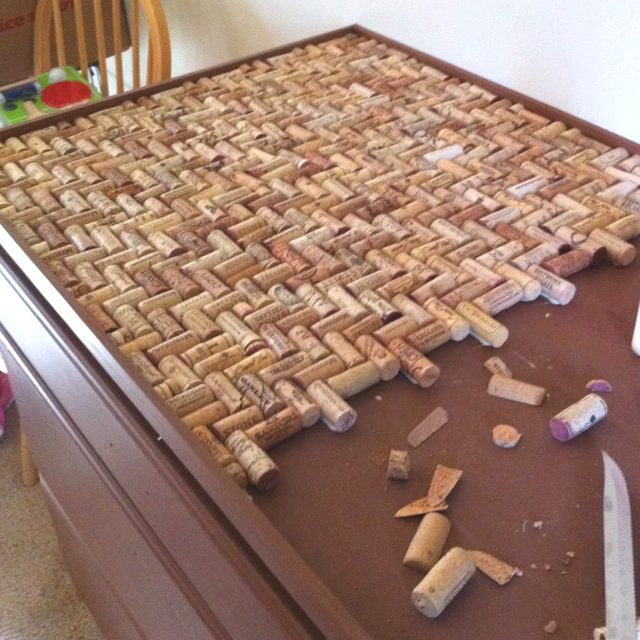 Wine cork counter top in a herringbone pattern.
