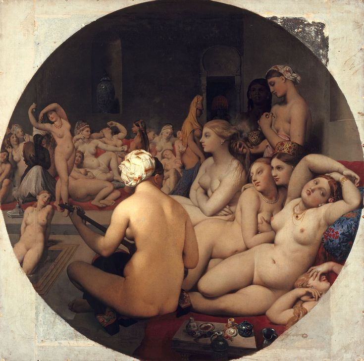 Jean-Aguste-Dominique Ingres : Le bain turc, 1862 - Oil on canvas - tondo 108 cm - Paris, Musée du Louvre