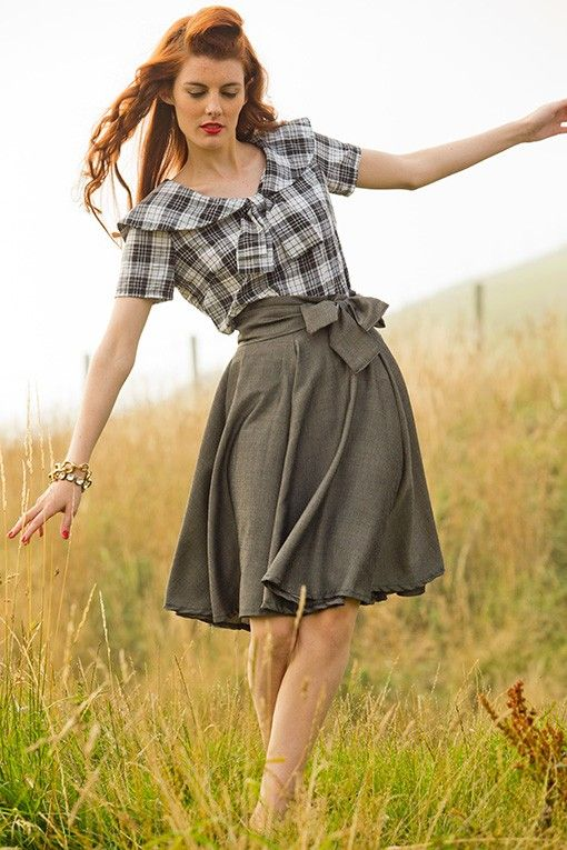 Full Flare Stewart Skirt in Tartans and Tweeds Collection by Shabby Apple