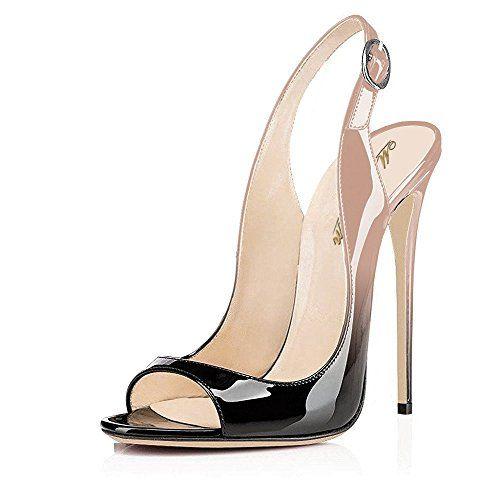 Chaussures pour Femmes en Similicuir Été Lacets Cheville Sangle Talon Aiguille Slingback Boucle pour Le Parti et la Robe de Soirée Noir Bleu Marron Clair (Couleur : B, Taille : 35)
