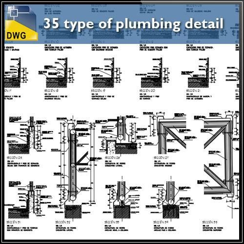35 type of plumbing detail and sections in cad drawing - CAD