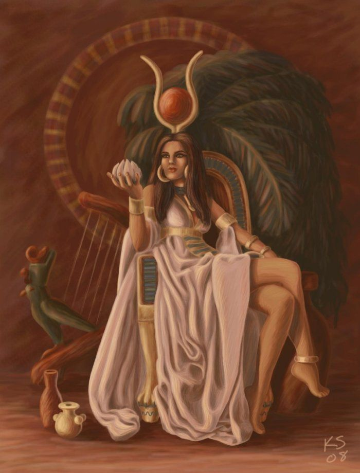 """Hathor is the Egyptian goddess of love, beauty, fertility, music, and dance. She is also the personification of the Milky Way."