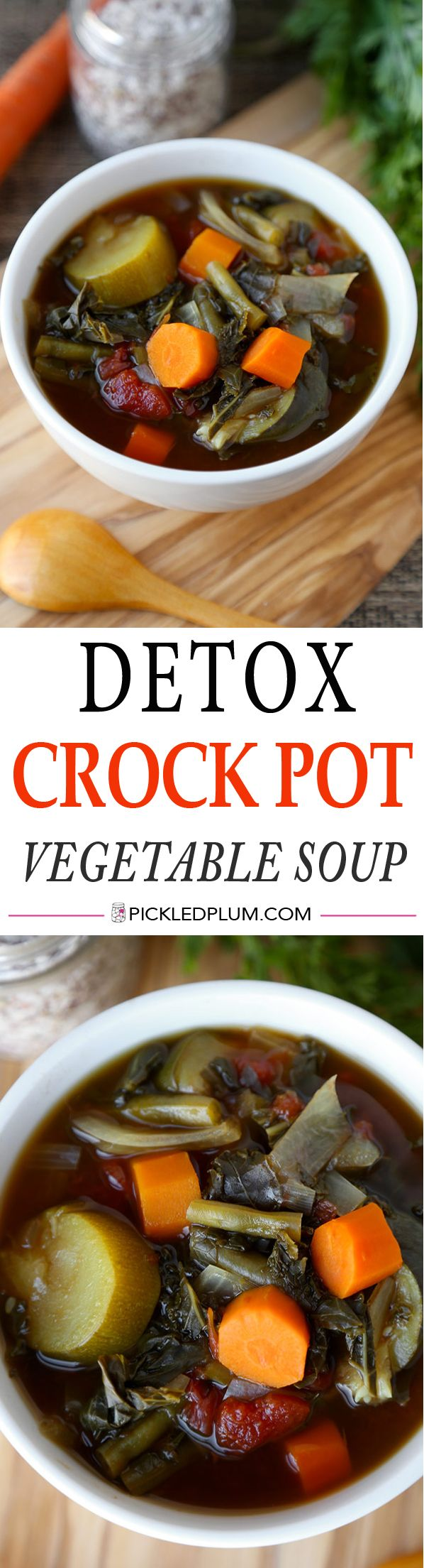 The key to consistently staying slim? Balance and portion control. No need to go on these extreme diets (they never work in the long run anyway). This holiday season, enjoy yourself but also be good to yourself with lighter and healthier options - Keep this Detox Crock Pot Vegetable Soup in individual portions in your freezer and take one out whenever you've overindulged. http://www.pickledplum.com/detox-crock-pot-vegetable-soup/