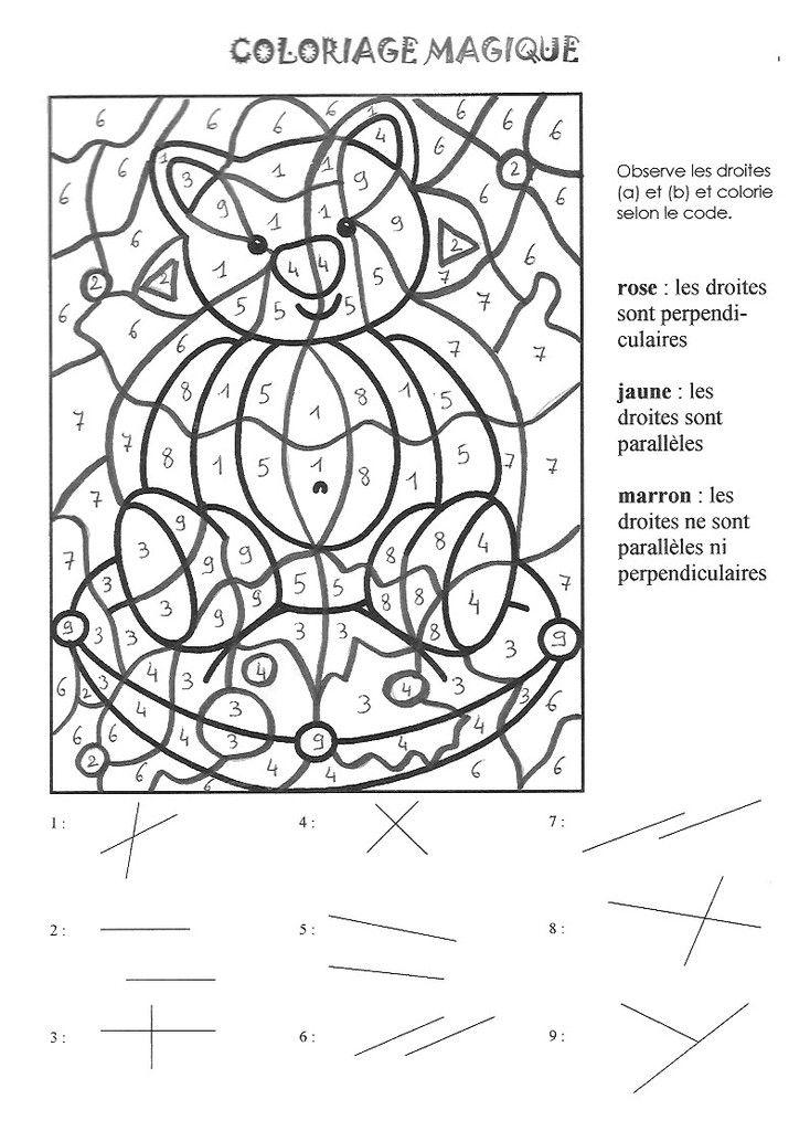 Coloriage Magique Paralleles Et Perpendiculaires La Classe De Myli Breizh Coloriage Magique Coloriage Cm1 Cm2