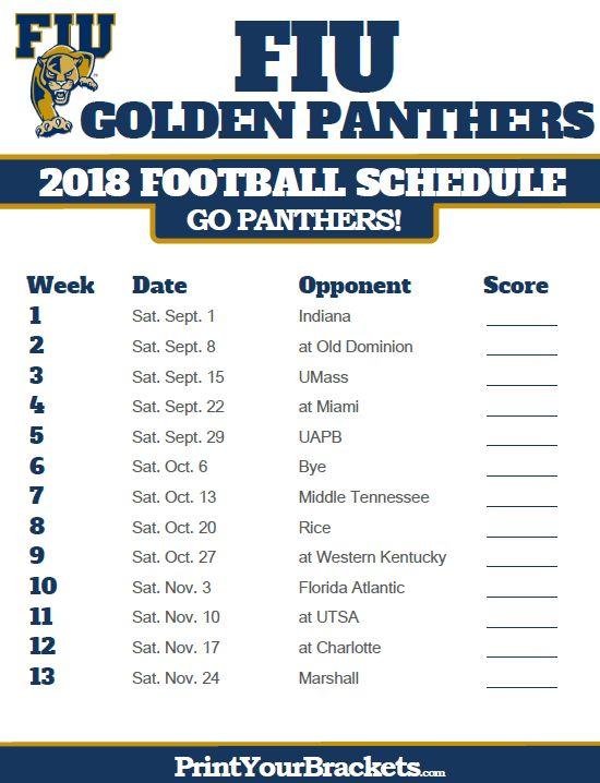 2018 Printable FIU Golden Panthers Football Schedule