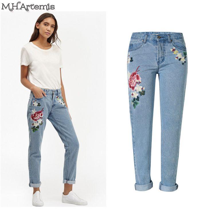 2017 American Apparel M.h.artemis Xs-xxl Floral Sky Slim Jeans Female Autumn Winter Tapered Leg Denim Streetwear Long Pants