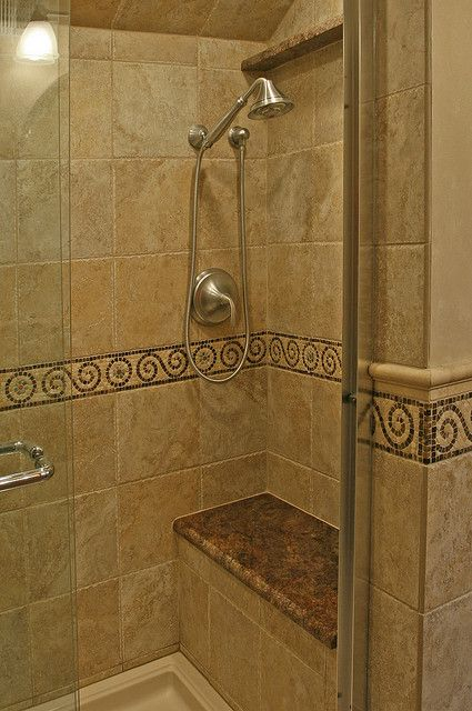 tiled shower with bench seat