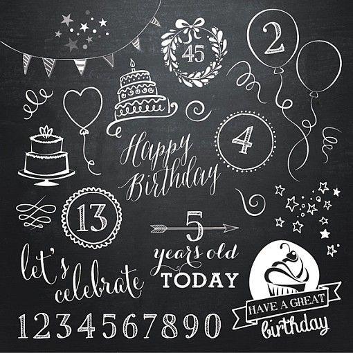 Birthday Doodle Chalkboard Overlays 1