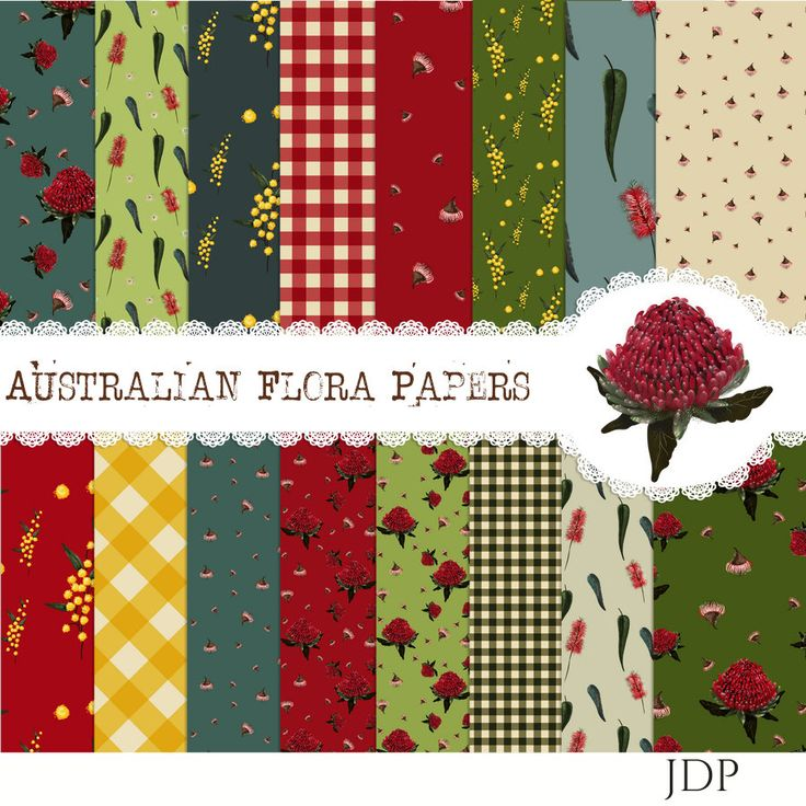 Australia Papers, Printable Paper, Flower Paper, Oz Paper, Australia Backdrop, Instant Download, 12 x 12 by JustDigitalPapers on Etsy
