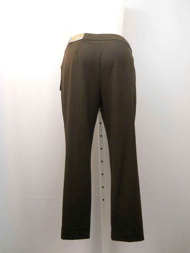 JM Collection Magic Pants Petite Size 16P Brown Mid-Rise Tummy Control Slim Legs #JMCollection #CasualPants